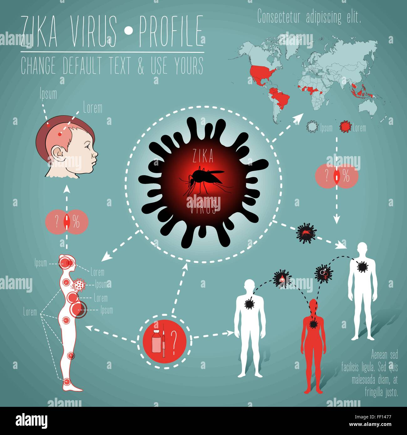 illustration of zika virus epidemy worldwide situation, with map, human bodies, virus and mosquito drawings and - Stock Vector