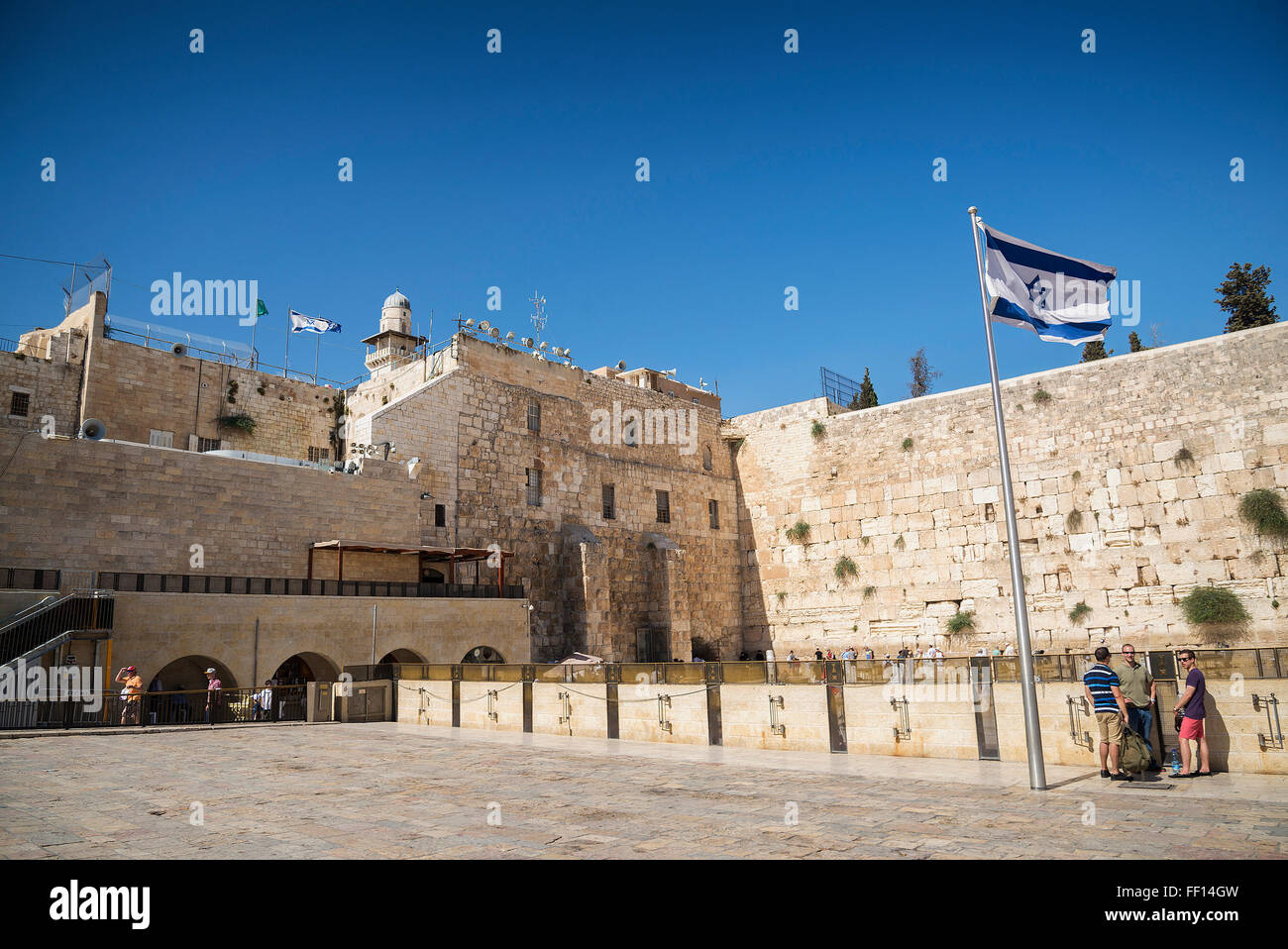 the western wall wailing wall landmark complex in jerusalem israel - Stock Image