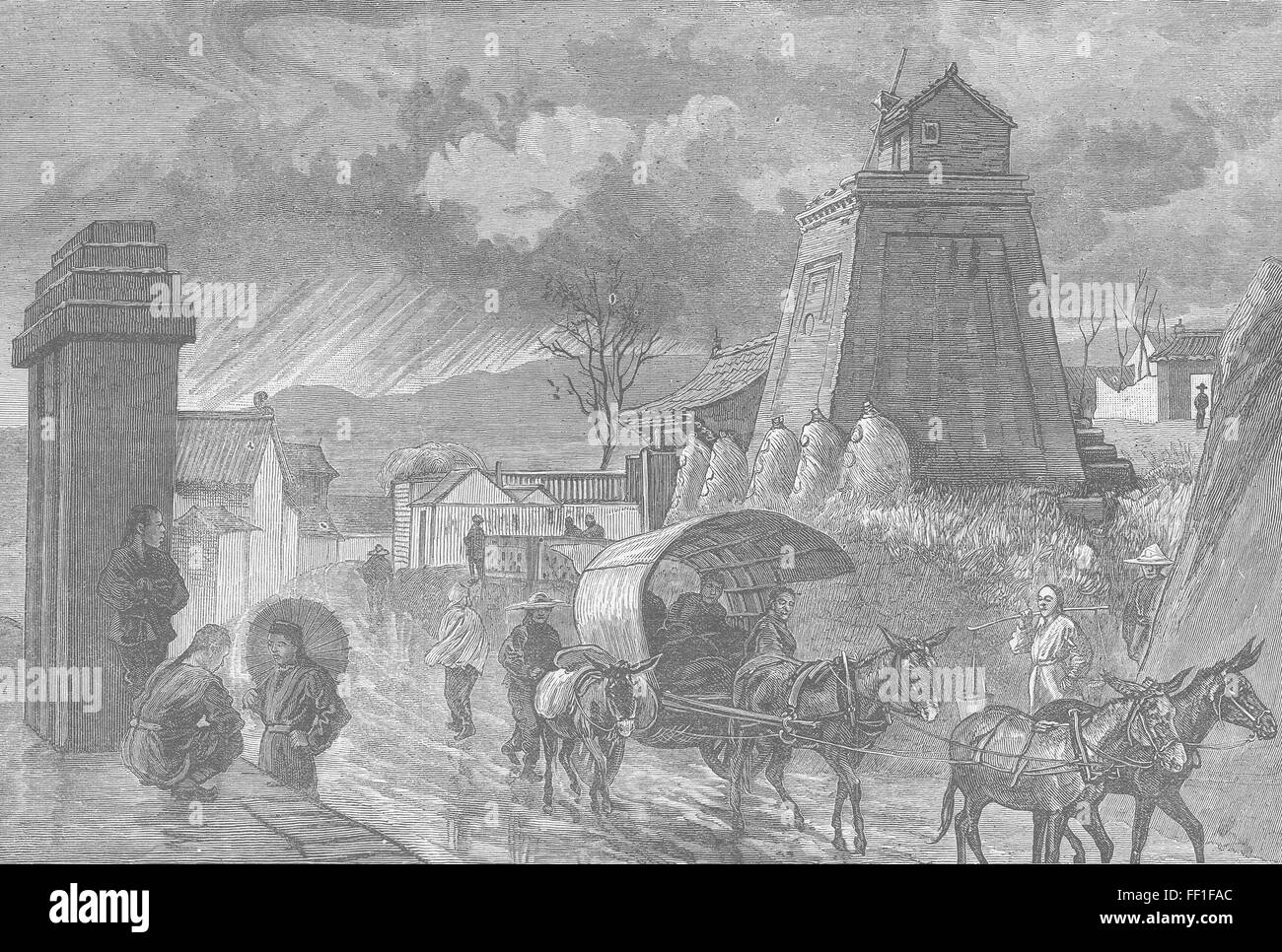 CHINA Watch-tower & mile-stone, Shan-Si 1882. Illustrated London News - Stock Image