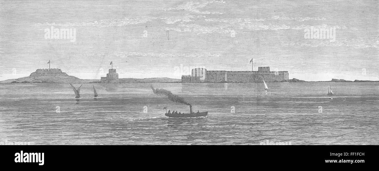 WAR IN EGYPT Fort Telegraph and Fort Bourg at Aboukir Bay Antique Print 1882