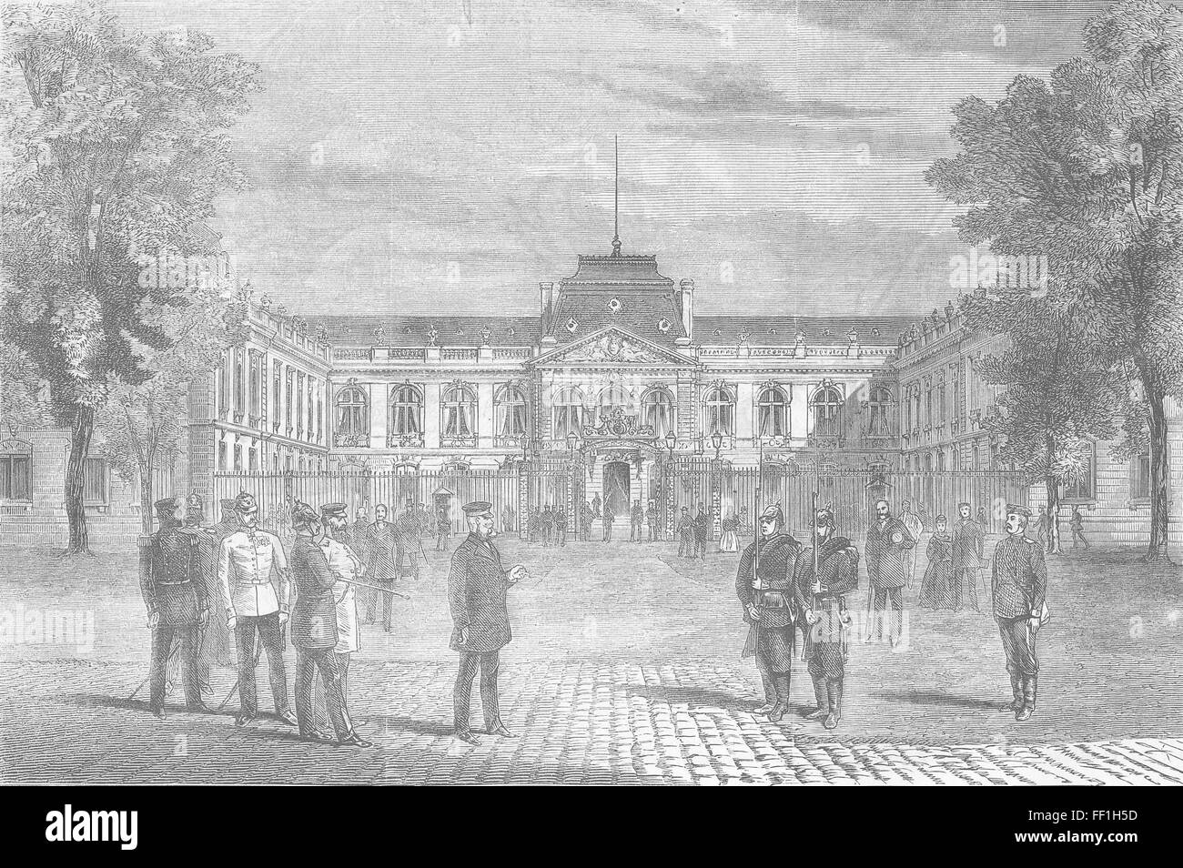 GERMANY Headquarters of the King Prussia at Versailles 1870. Illustrated London News - Stock Image