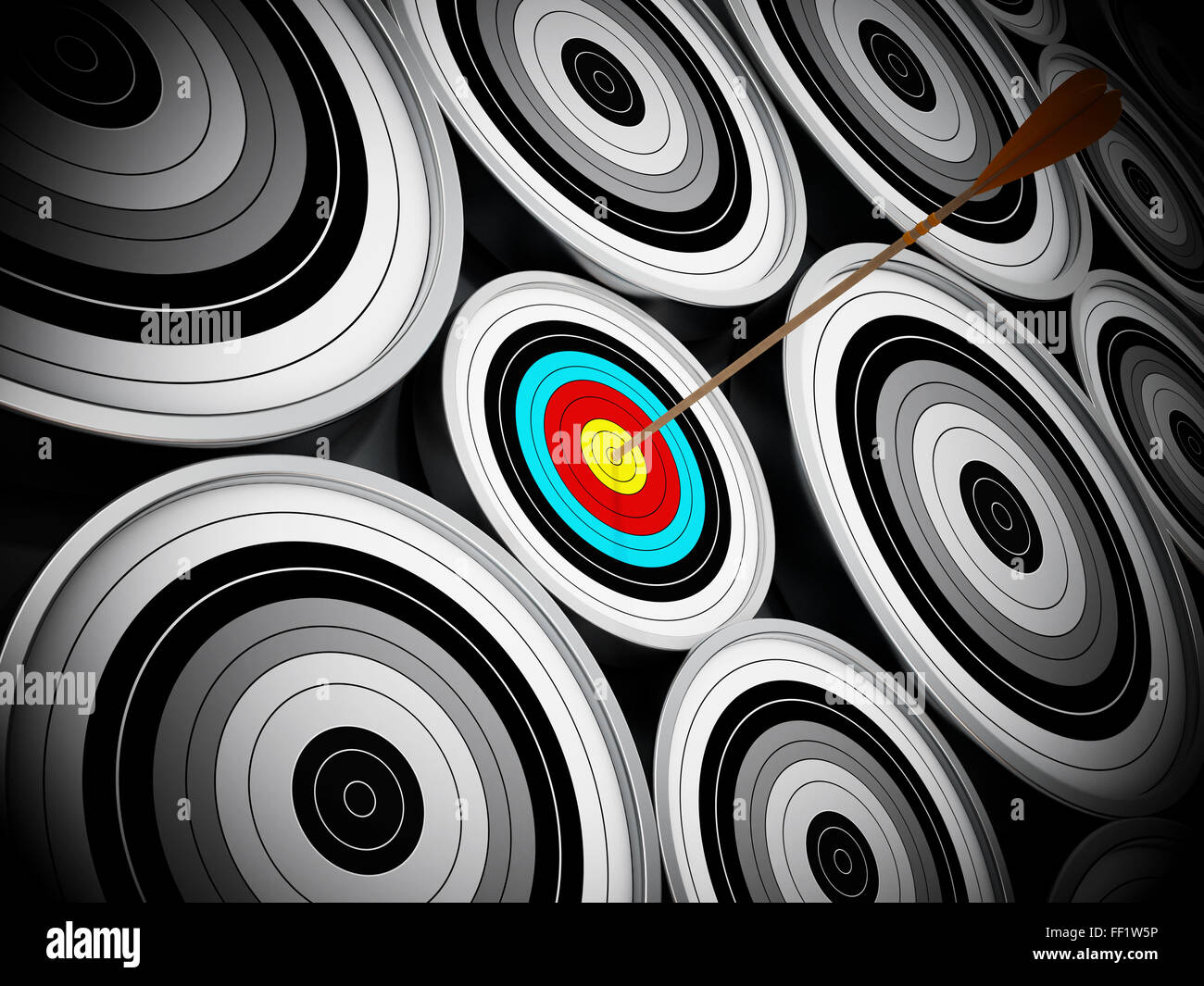 Red Dart hit right at the middle of the small target. Niche marketing concept which means concentrating all marketing - Stock Image
