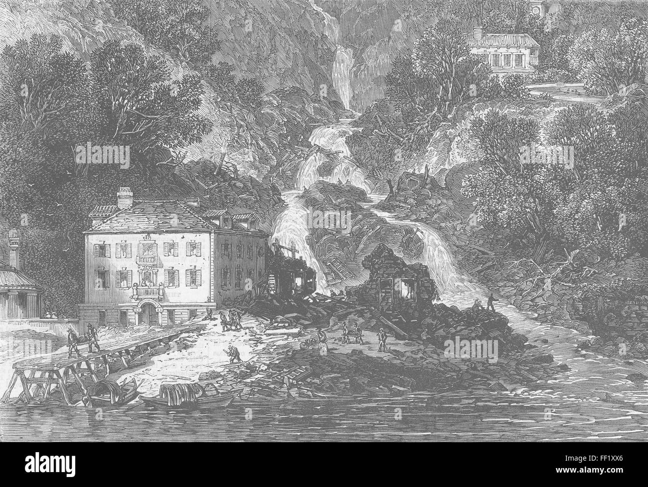 ITALY Disaster at a village, left bank of lake Como 1863. Illustrated London News - Stock Image