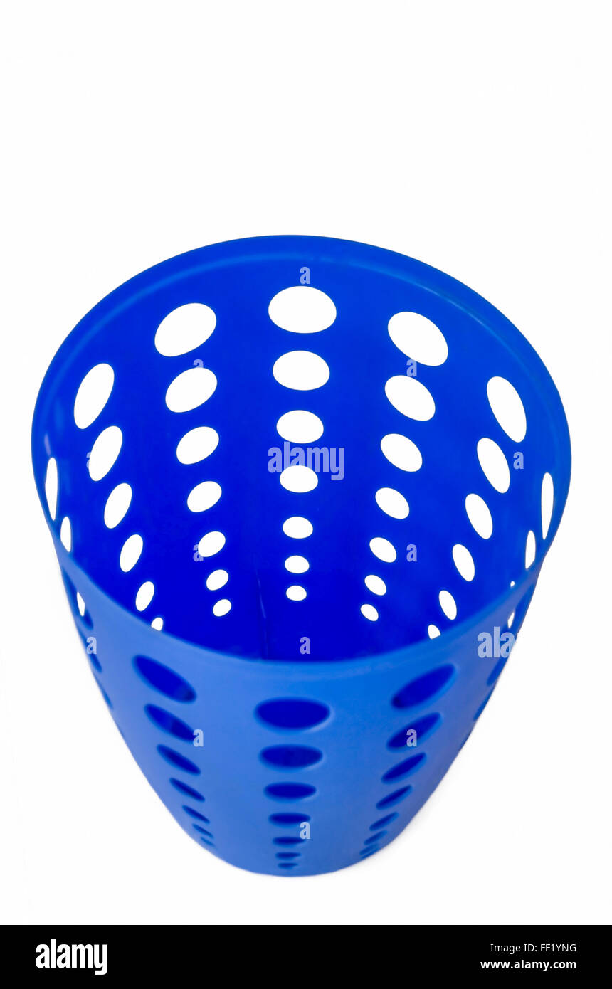 Empty Modern Blue Plastic Trash Can with Holes isolated in White Background - Stock Image