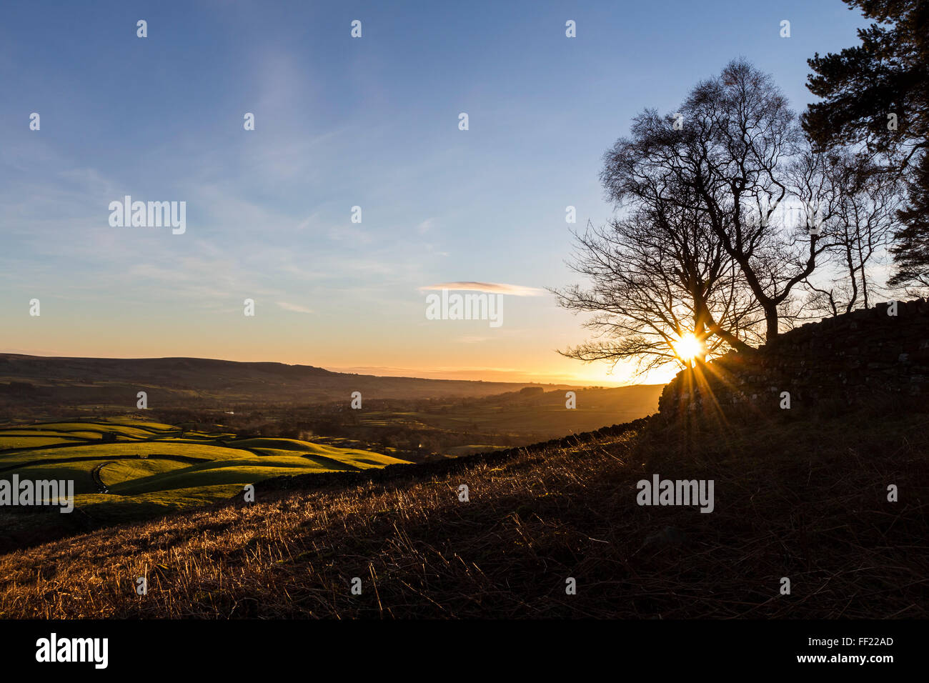 Teesdale, County Durham. Wednesday 10th February 2016, UK Weather.  Clear skies this morning meant it was a cold Stock Photo