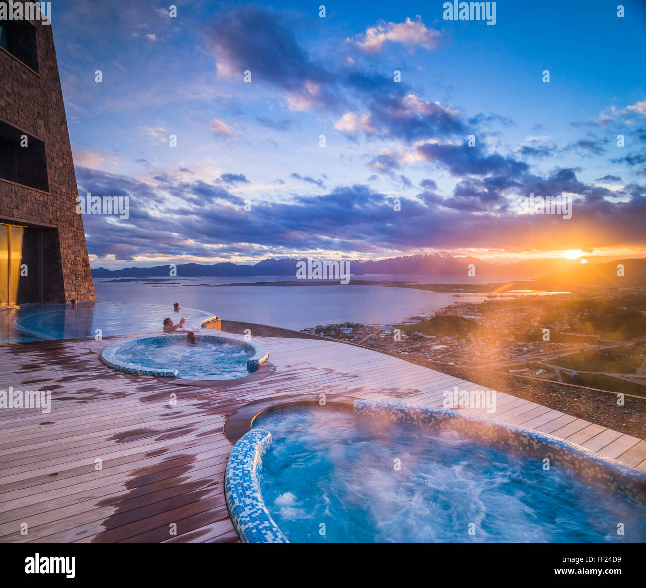 Outdoor swimming pooRM and jacuzzi, HoteRM Arakur Ushuaia Resort and Spa, Ushuaia, Tierra deRM Fuego, Patagonia, - Stock Image