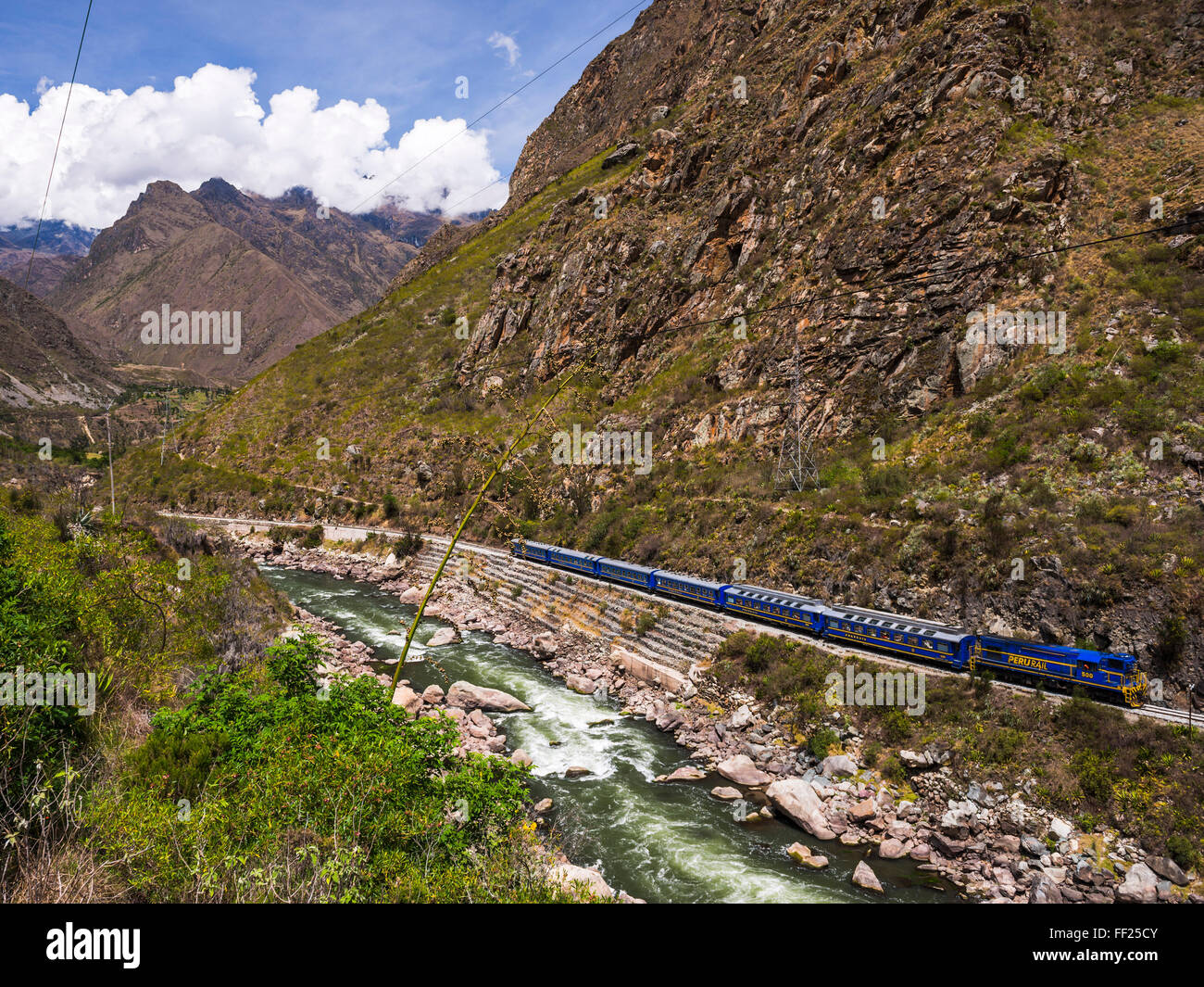 Train between Aguas CaRMientes and ORMRMantaytambo through the Sacred VaRMRMey, Cusco Region, Peru, South America Stock Photo
