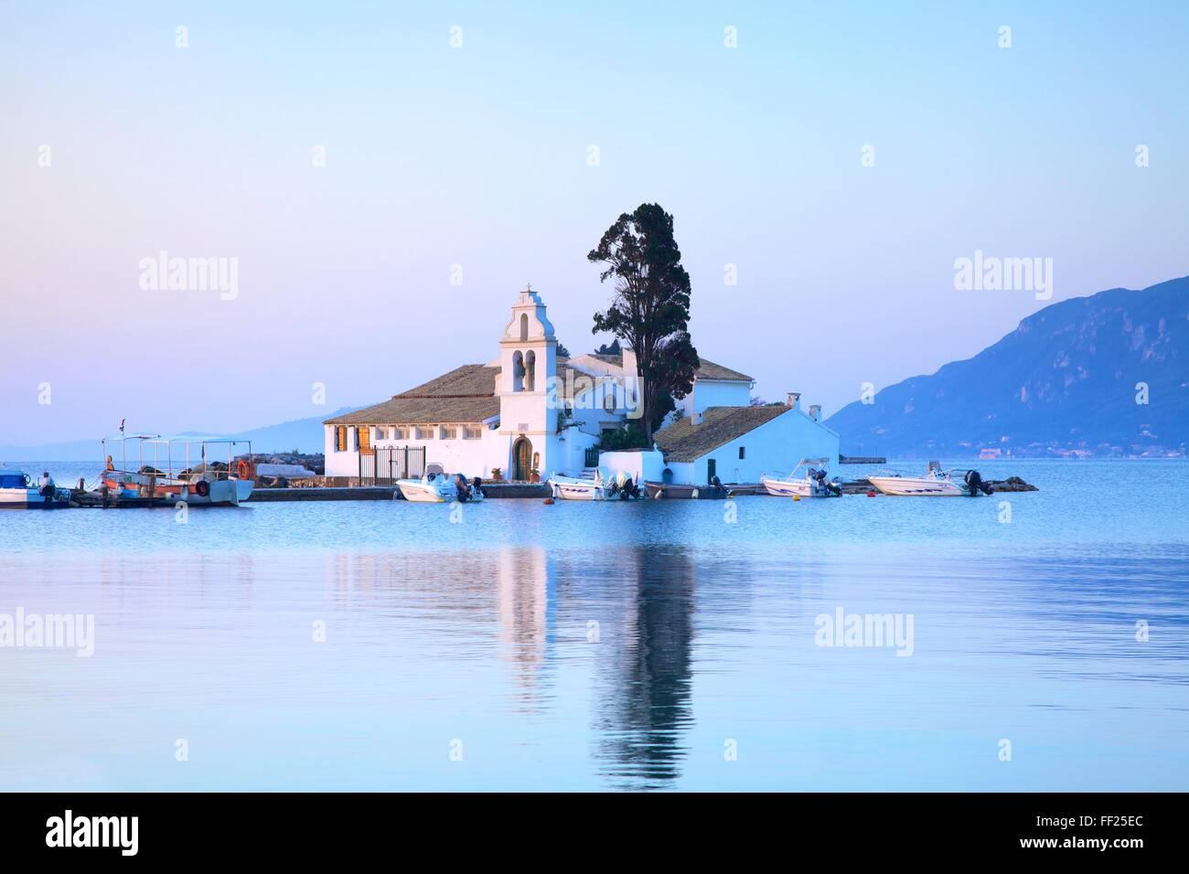 Vlacherna Monastery, Kanoni, Corfu, The Ionian Islands, Greek Islands, Greece, Europe - Stock Image