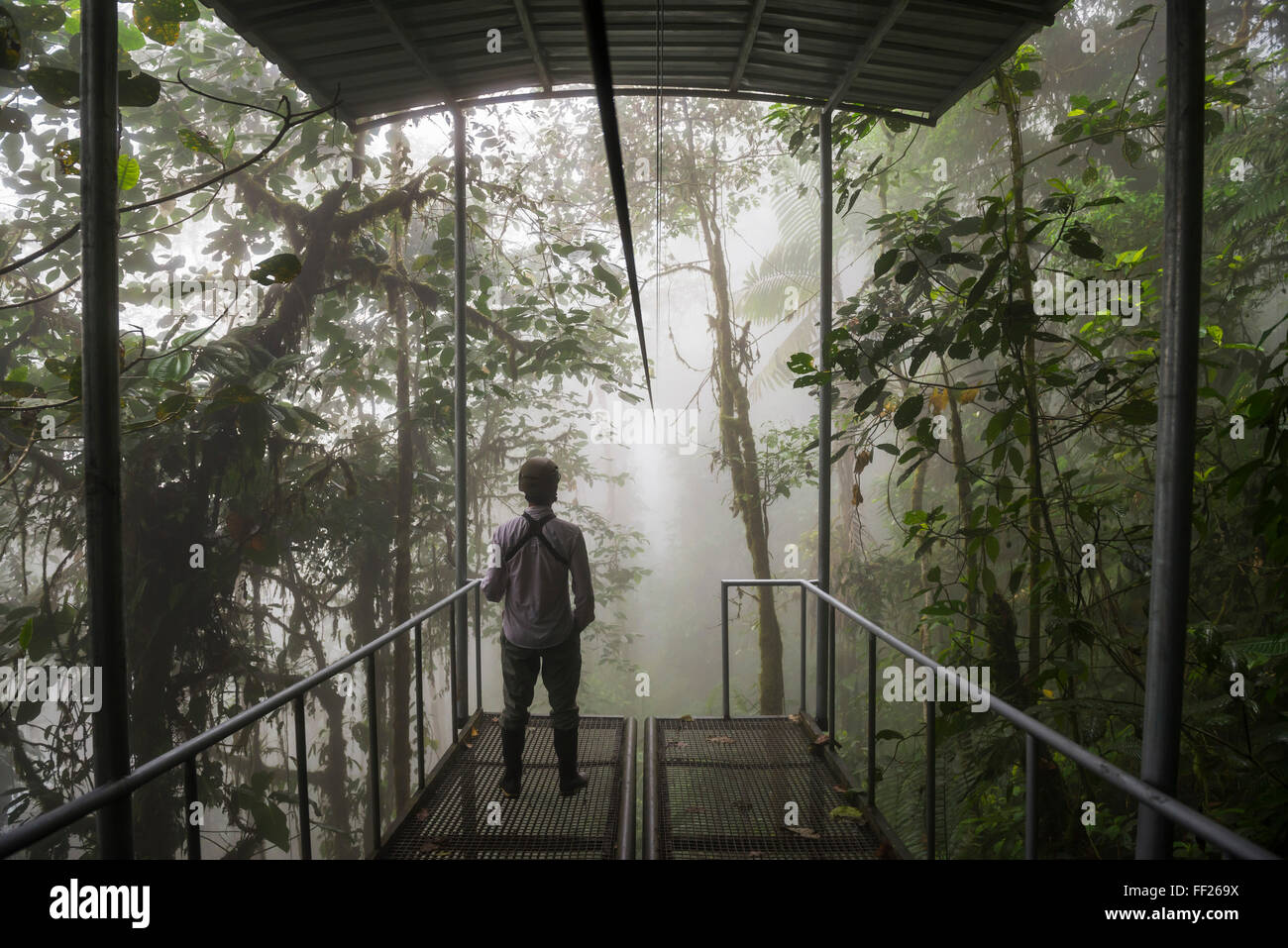 Mashpi RModge Sky Bike station on a misty morning in the Choco Rainforest, Pichincha Province, Ecuador, South America - Stock Image