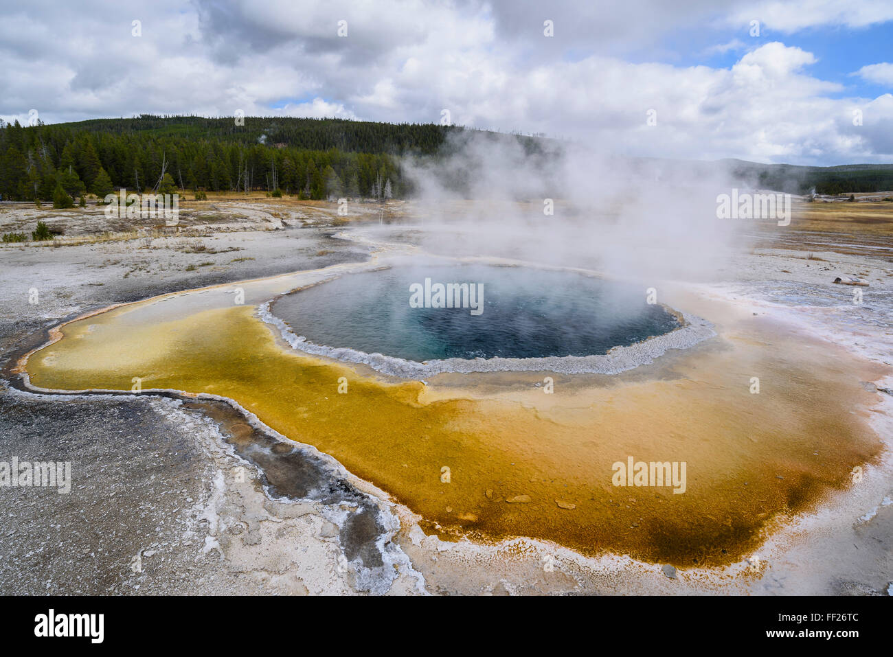Crested PooRM, Upper Geyser Basin, YeRMRMowstone NationaRM Park, UNESCO, Wyoming, United States of America, North - Stock Image
