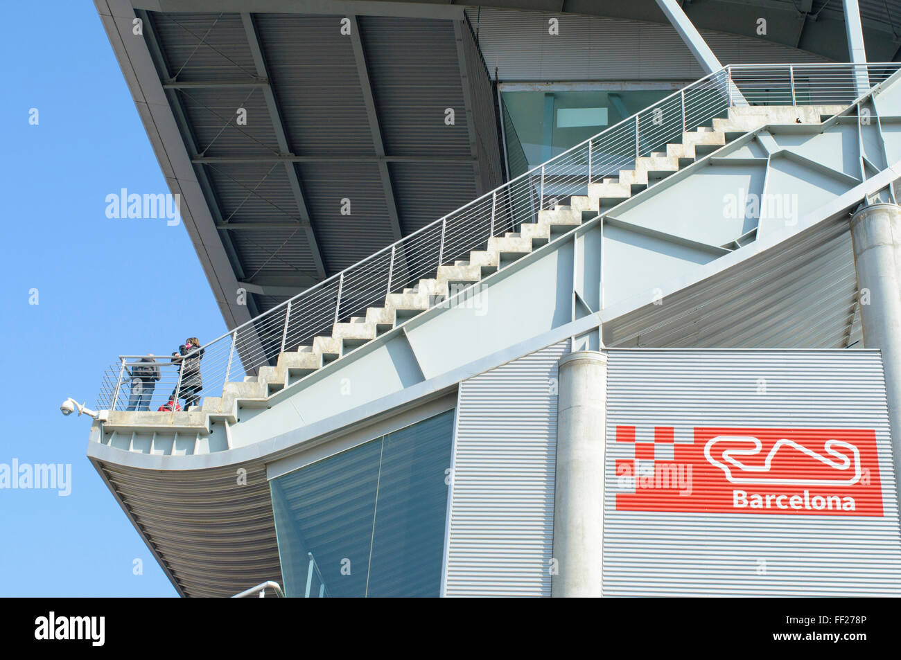 Two tourists in the gallery circuit Catalonia - Montmeló on a sunny day - Stock Image