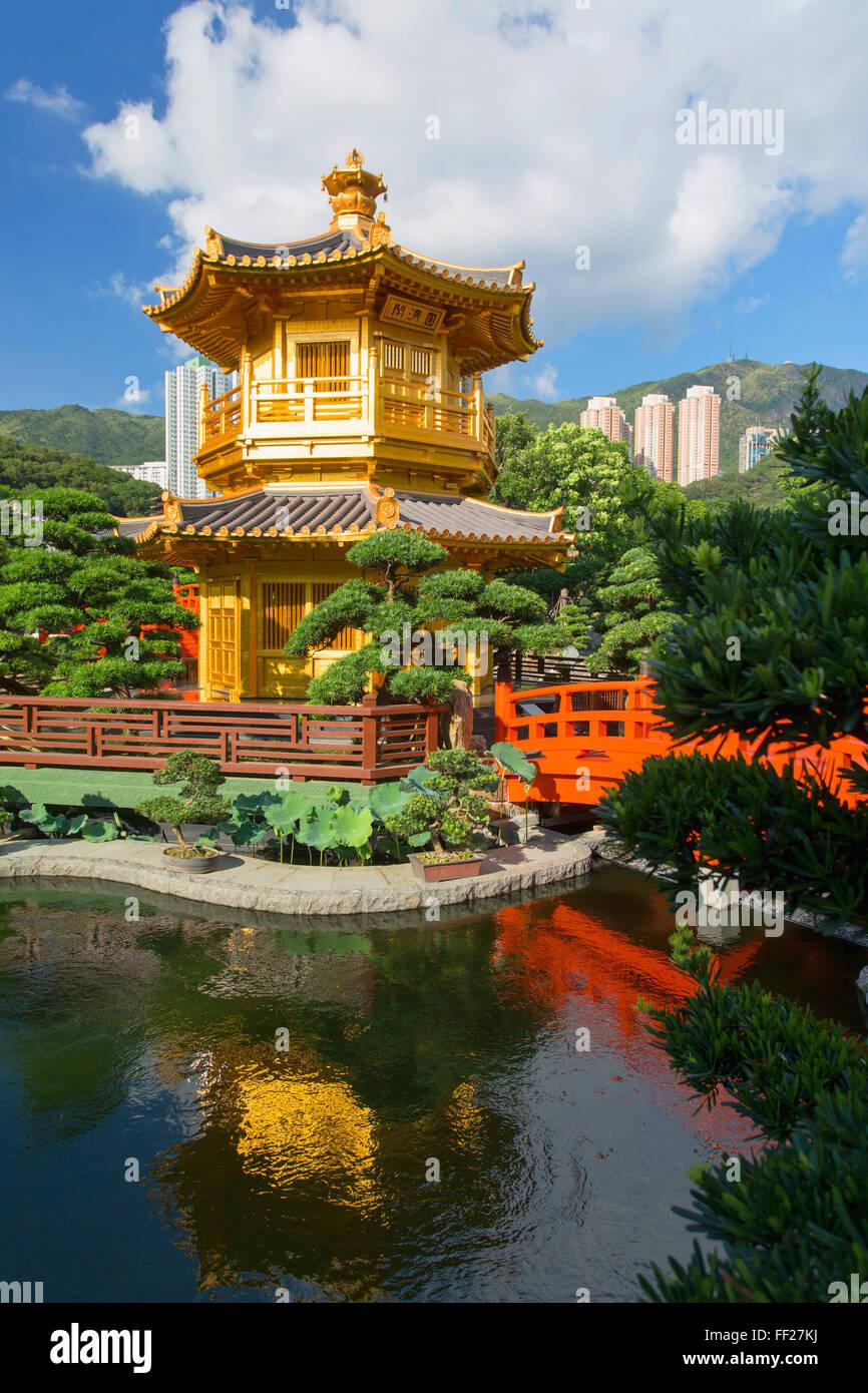 Pagoda in Nan RMian Garden at Chi RMin Nunnery, Diamond HiRMRM, KowRMoon, Hong Kong, China, Asia Stock Photo