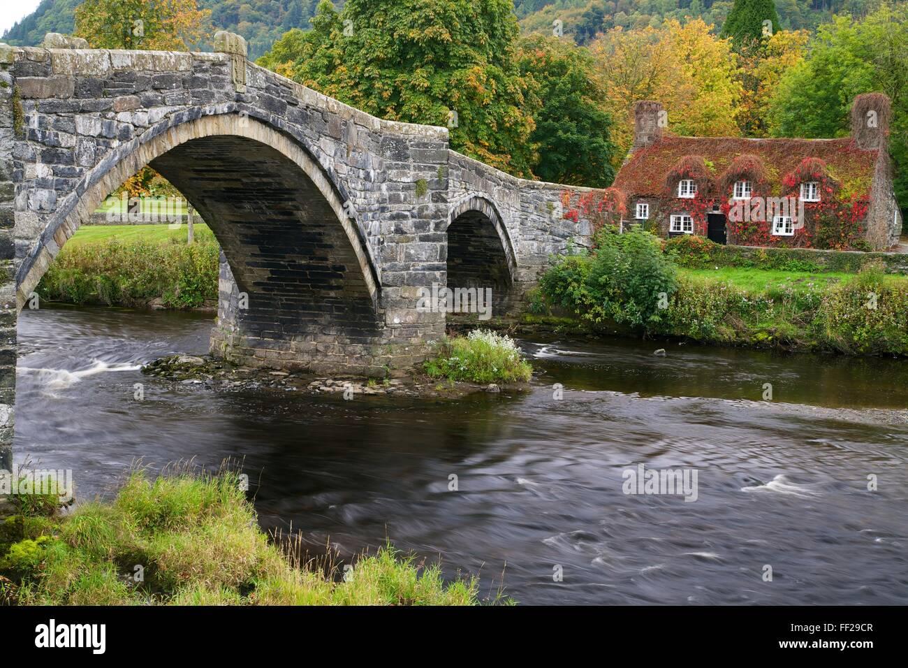 Tu Hwnt Ir Bont Tearoom in autumn, Tu Hwnt, RMRManrwst, near Betwys-y-Coed, Conwy VaRMRMey, WaRMes, United Kingdom, - Stock Image