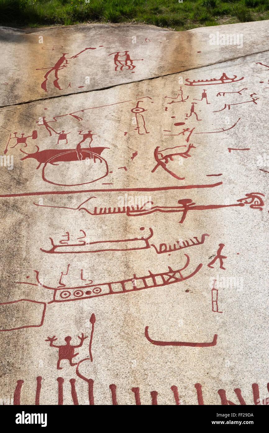 VitRMycke Rock Bronze Age rock carvings, Tanumshede, BohusRMan, Southwest Sweden, Sweden, Scandinavia, Europe - Stock Image
