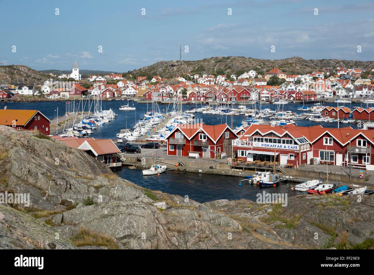 View over town and harbour, Skarhamn, Tjorn, BohusRMan Coast, southwest Sweden, Sweden, Scandinavia, Europe - Stock Image