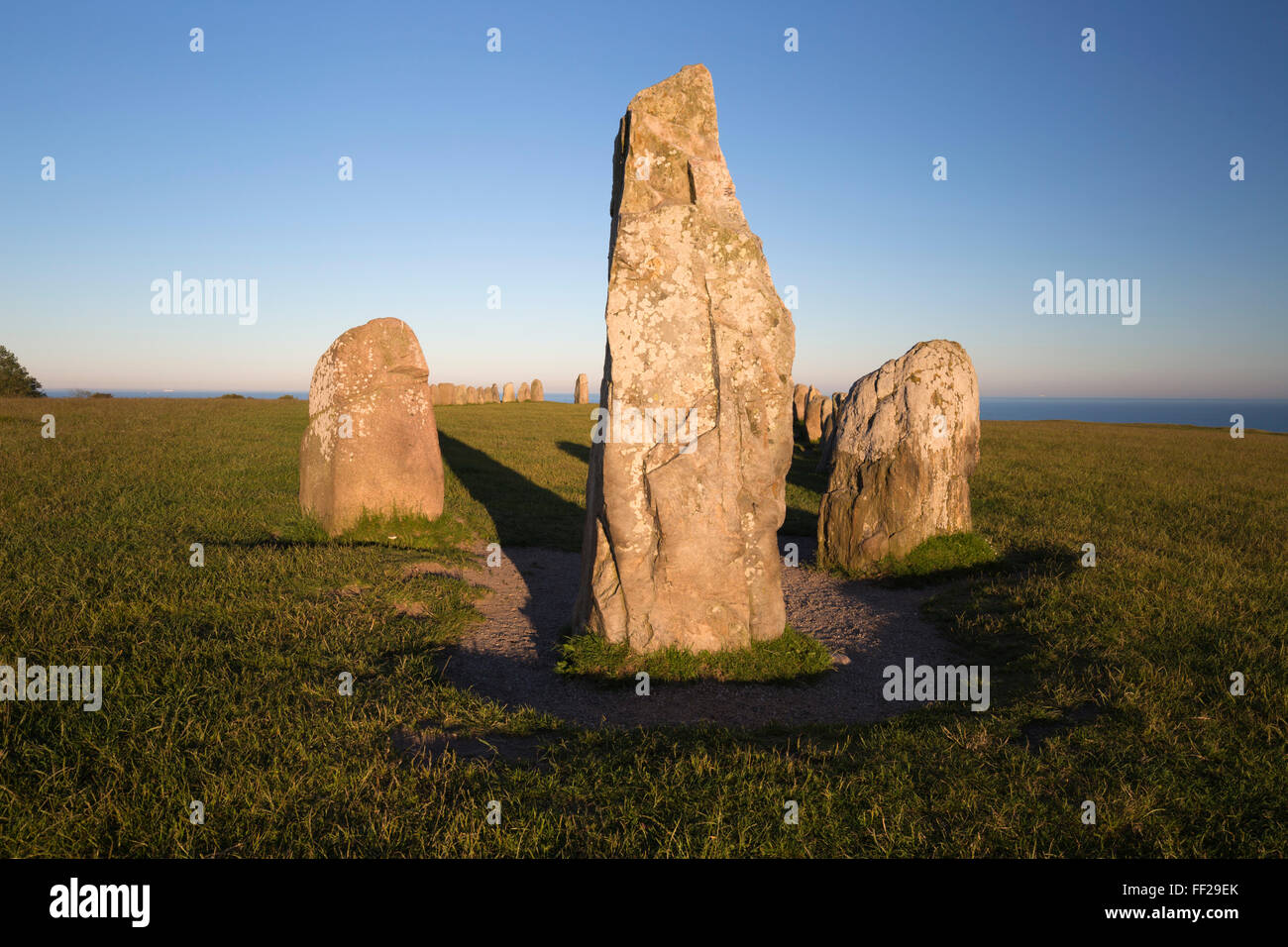 Boat shaped standing stones of ARMes Stenar, Kaseberga, Skane, South Sweden, Sweden, Scandinavia, Europe - Stock Image
