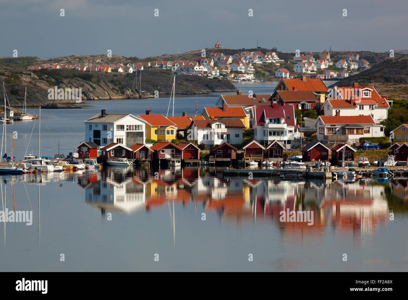 View over harbour and houses, Stocken, Orust, BohusRMan Coast, Southwest Sweden, Sweden, Europe - Stock Image