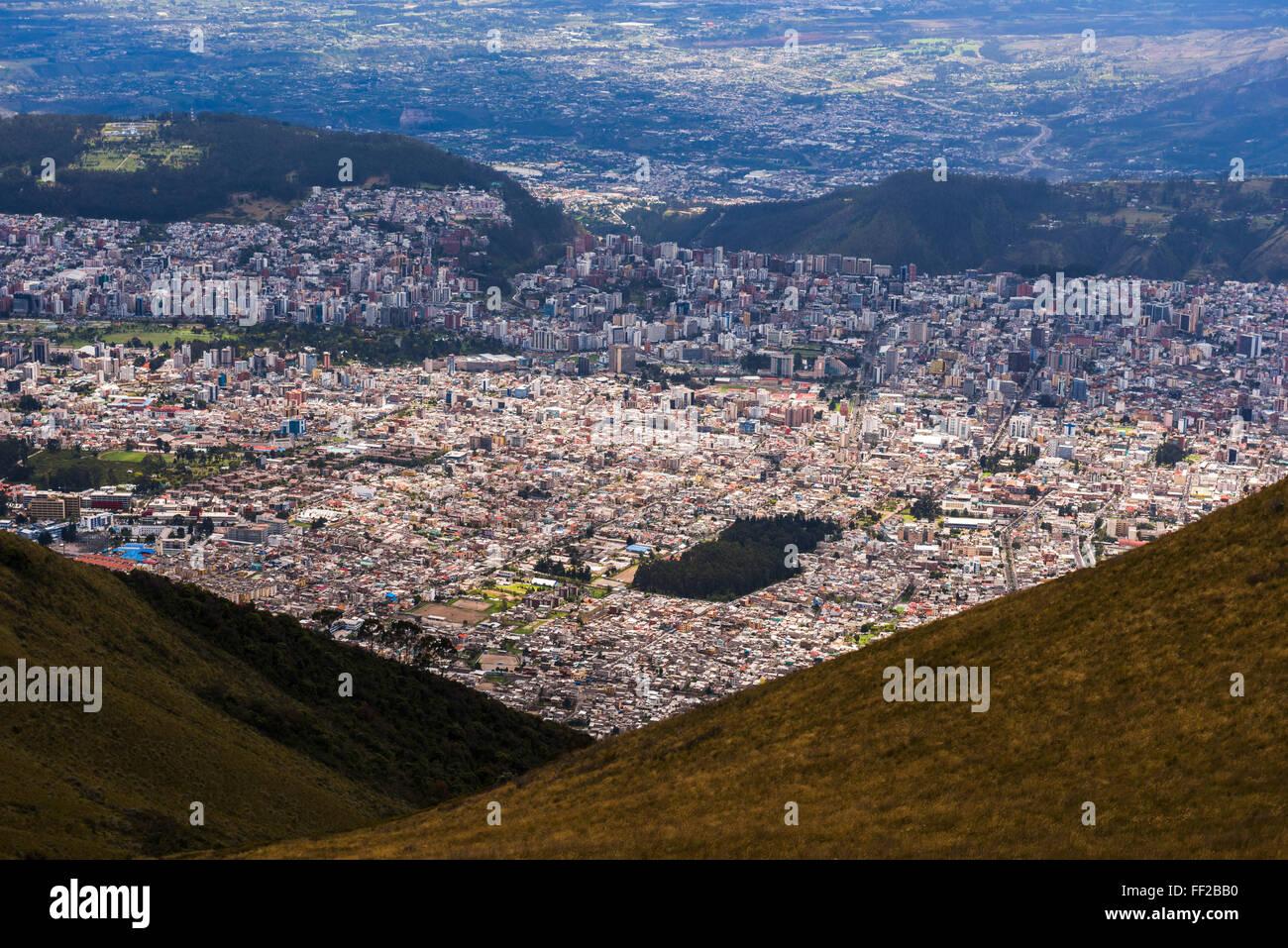 City of Quito seen from the Pichincha VoRMcano, Quito, Ecuador, South America - Stock Image