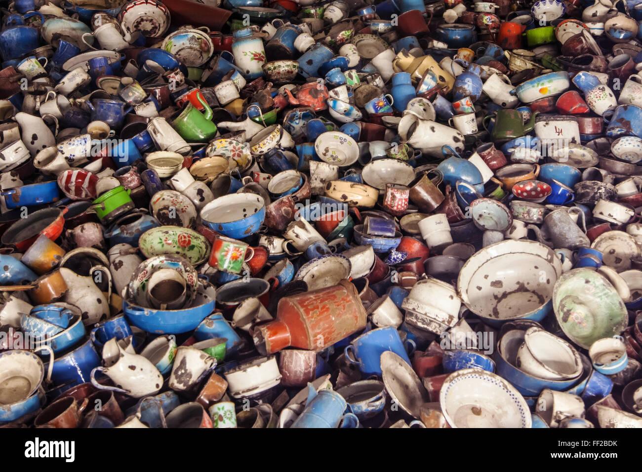 Kitchen utensils of Auschwitz victims - Stock Image