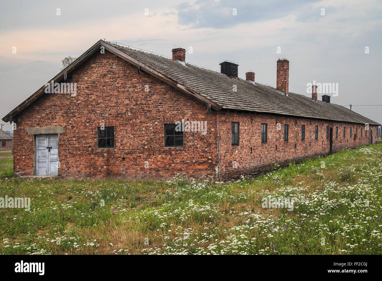 Bunkhouse at Auschwitz-Birkenau concentration camp in Oswiecim, Poland. - Stock Image