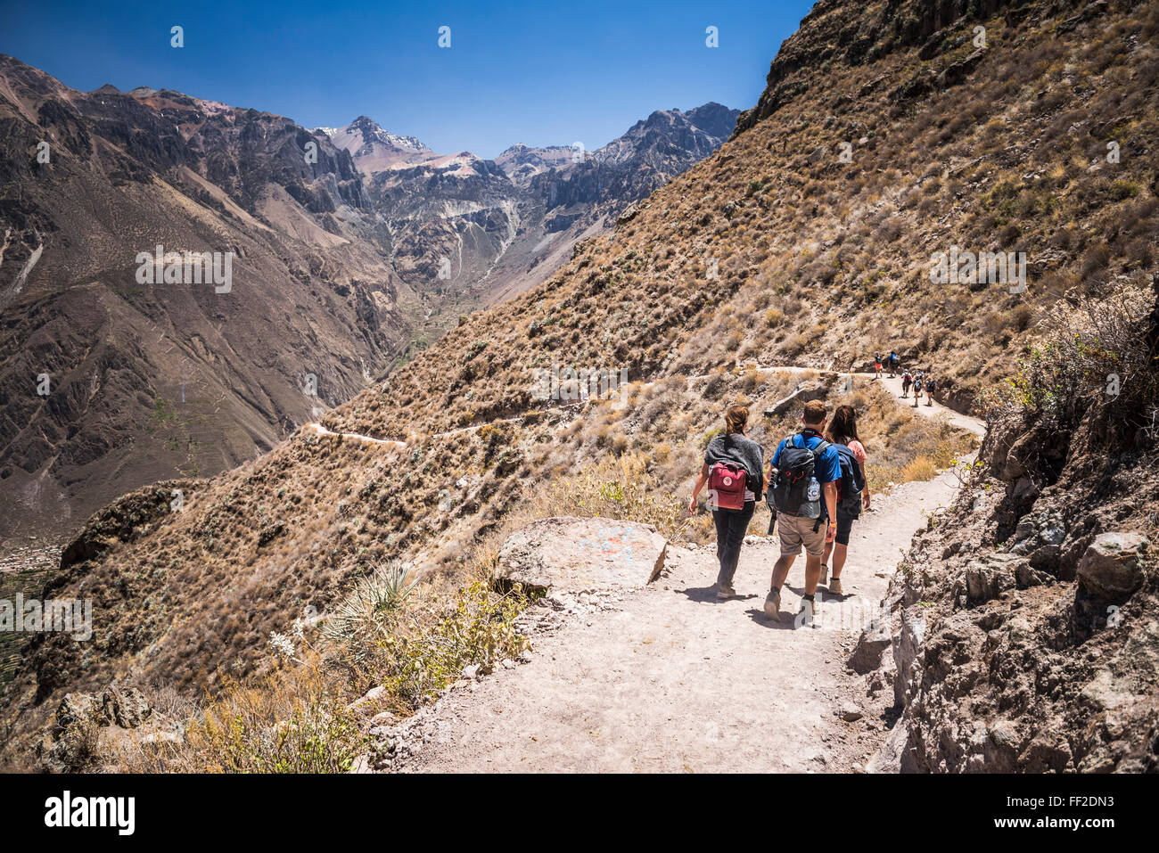 Tourist hiking the CoRMca Canyon trek, Peru, South America - Stock Image