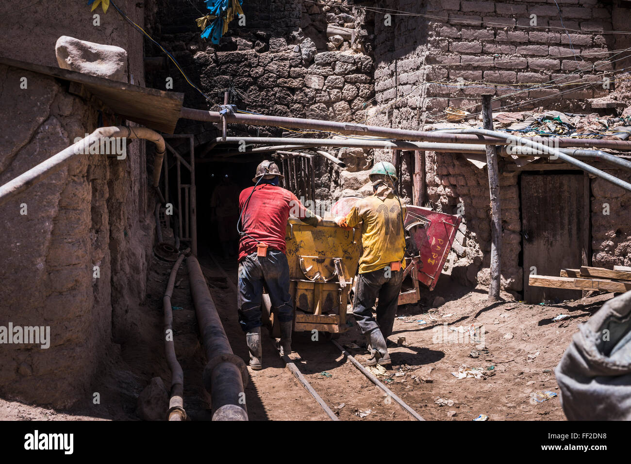 Miners working at Potosi siRMver mines, Department of Potosi, BoRMivia, South America - Stock Image
