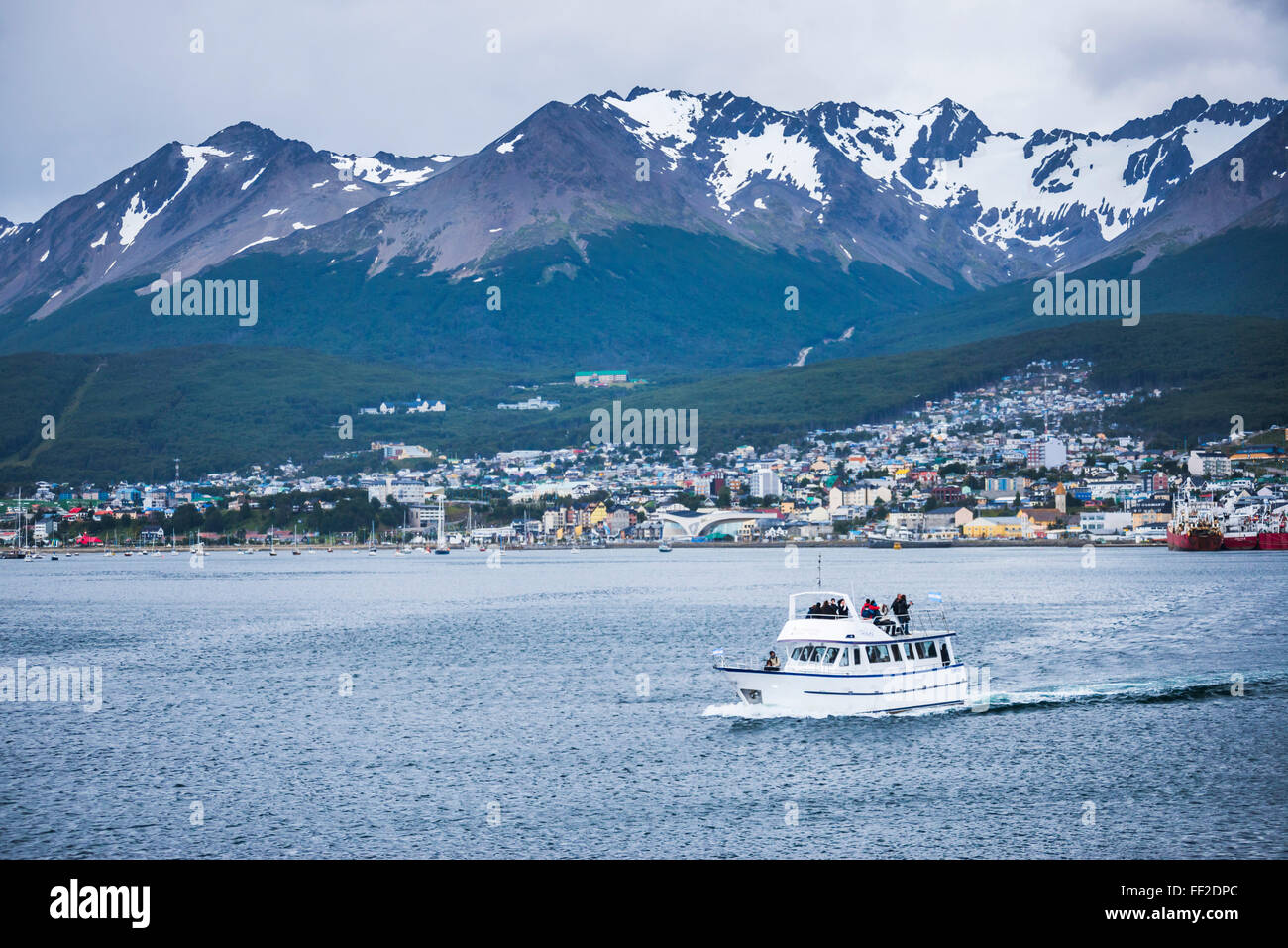 BeagRMe ChanneRM boat navigation, Ushuaia, Tierra DeRM Fuego, Patagonia, Argentina, South America - Stock Image
