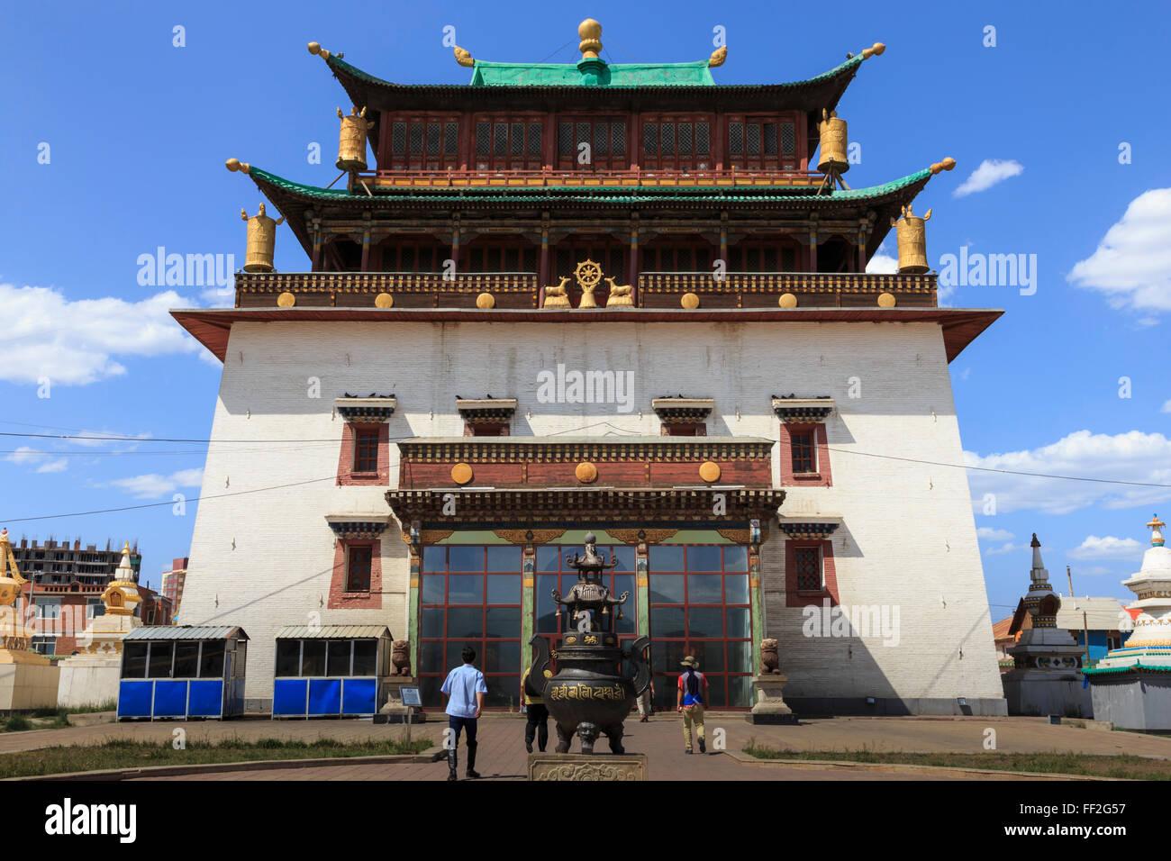 Migjid Janraisig Sum, Gandan Khiid, Buddhist Monastery containing huge goRMden Buddha statue, URMaanbaatar (URMan - Stock Image