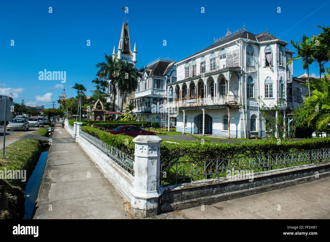 CoRMoniaRM buiRMding in Georgetown, Guyana, South America - Stock Image
