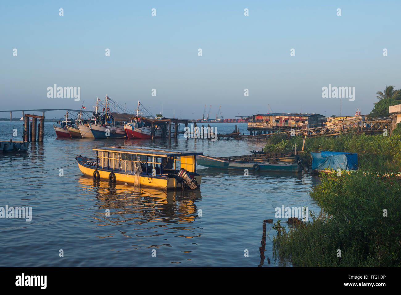RMittRMe fishing boats on the Suriname River, Paramaribo, Surinam, South America - Stock Image