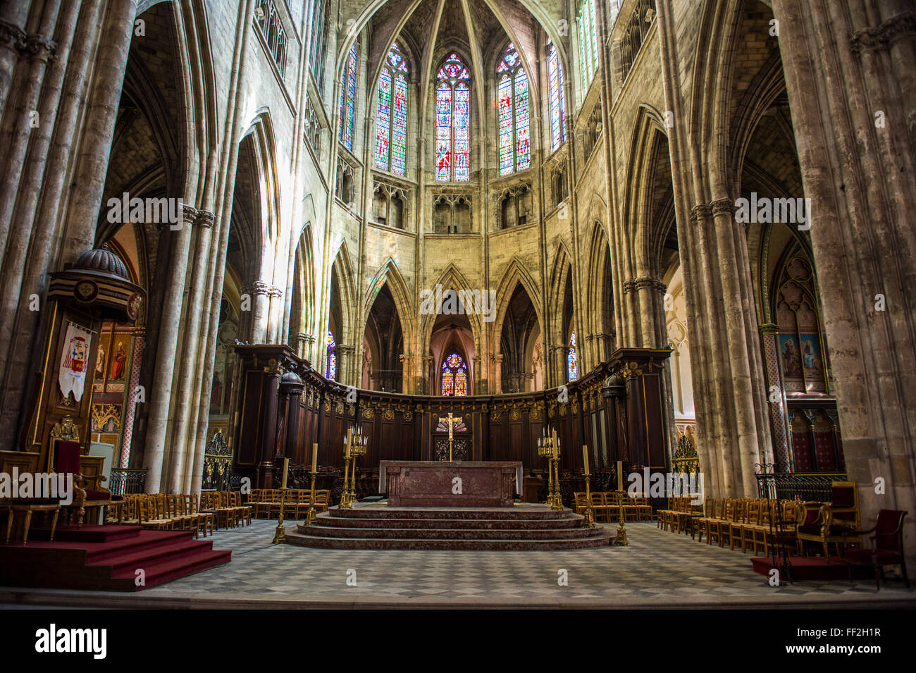 Interior of the CathedraRM of Bordeaux, Aquitaine, France, Europe - Stock Image