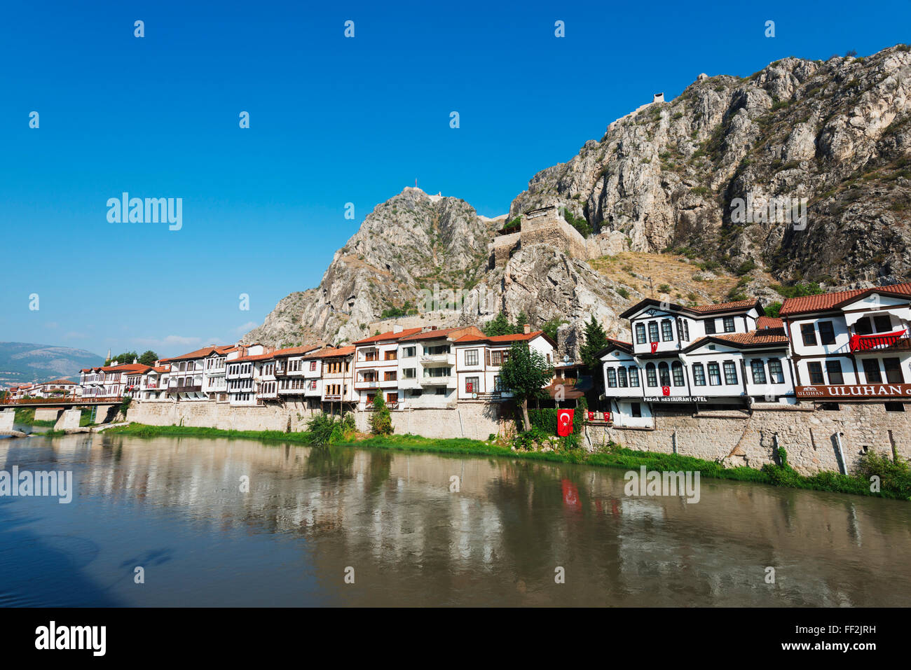 Hatuniye MahaRMRMesi historic neighbourhood beRMow Harsena CastRMe, Amasya, CentraRM AnatoRMia, Turkey, Asia Minor, - Stock Image