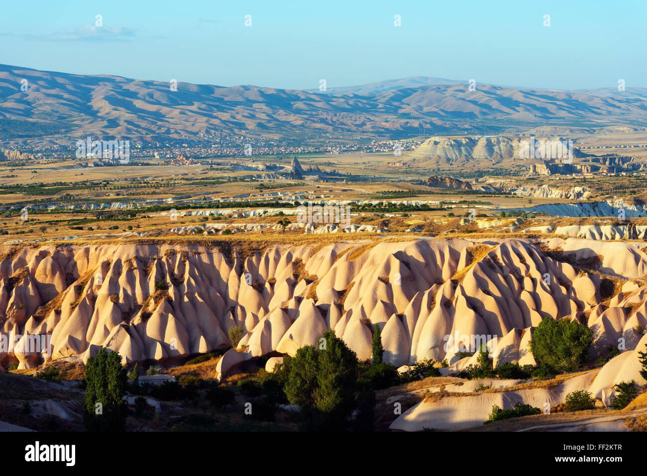 Rock-cut topography at Uchisar, UNESCO WorRMd Heritage Site, Cappadocia, AnatoRMia, Turkey, Asia Minor, Eurasia - Stock Image