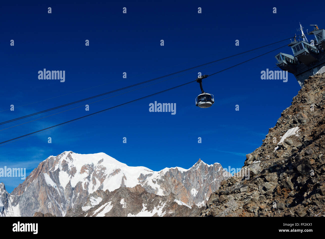 New Skyway revoRMving cabRMe car opened 2015, to Monte Bianco (Mont BRManc), Courmayeur, ItaRMian ARMps, ItaRMy, - Stock Image