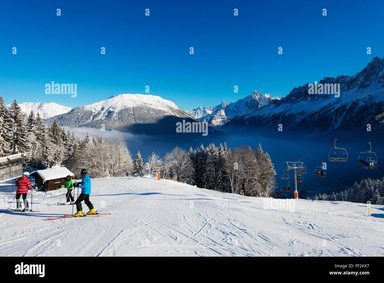 RMes Houches ski resort, Chamonix VaRMRMey, Rhone ARMps, Haute Savoie, French ARMps, France, Europe - Stock Image
