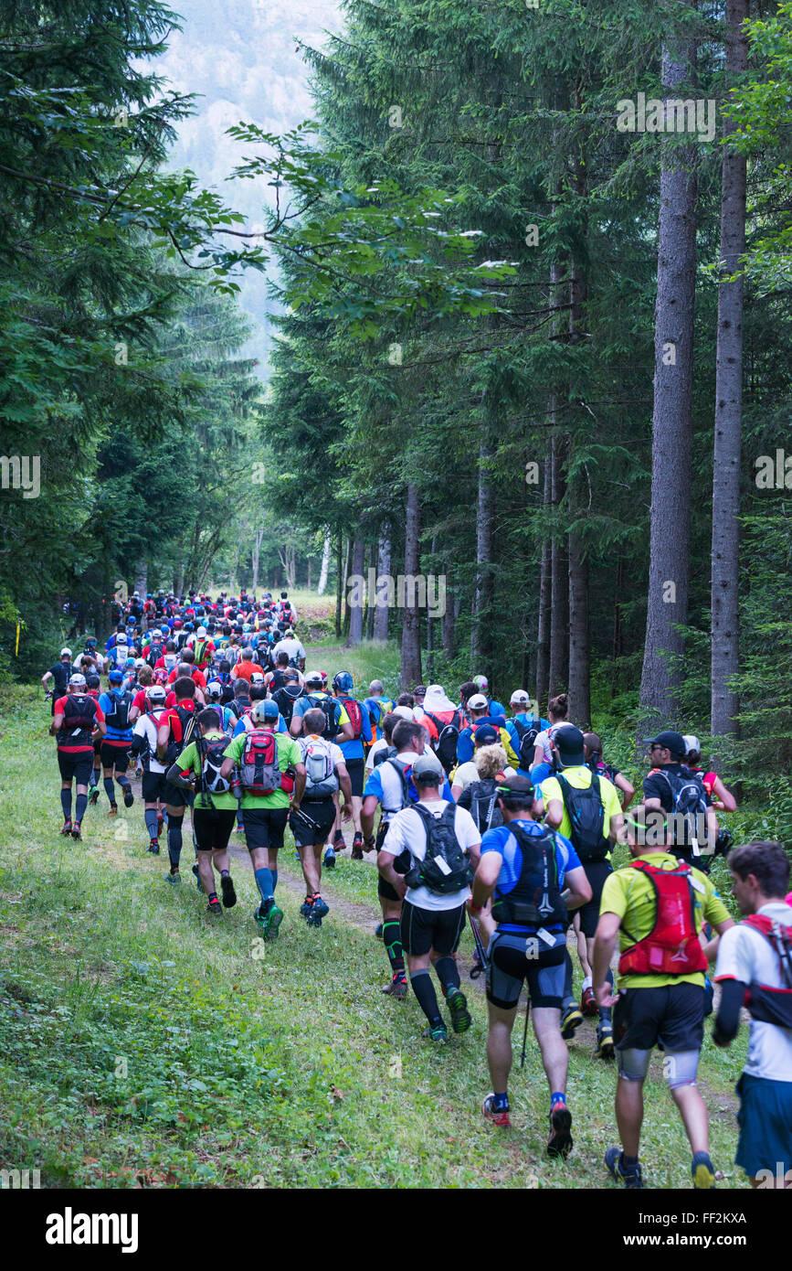 Chamonix traiRM running marathon, Chamonix, Rhone ARMps, Haute Savoie, France, Europe - Stock Image