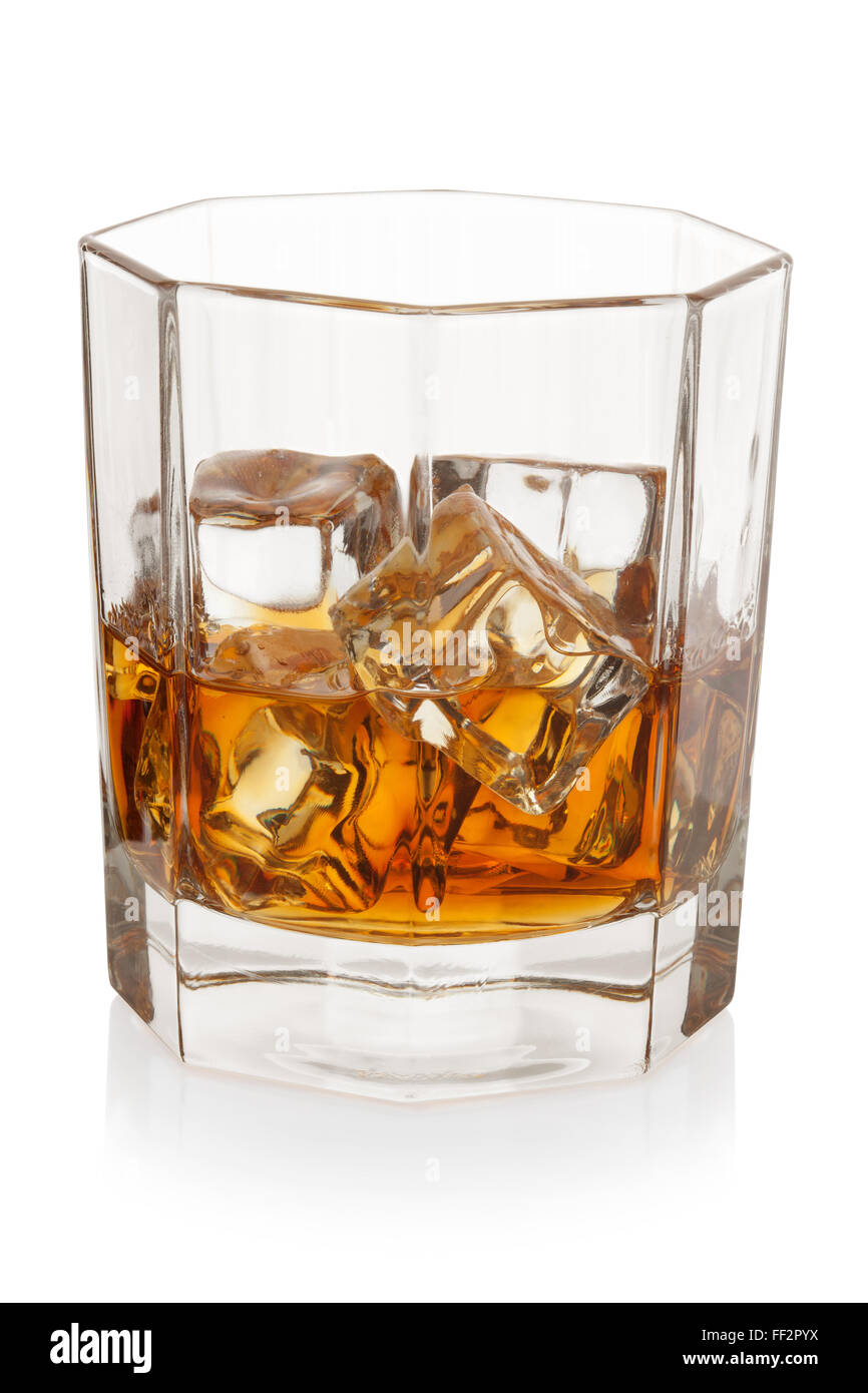 Whiskey with ice cubes, isolated on the white background, clipping path included. - Stock Image