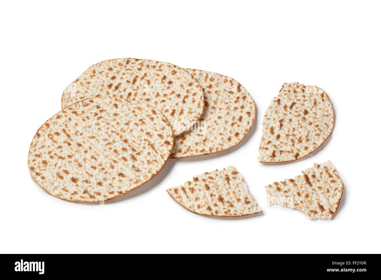 Fresh matzo on white background - Stock Image