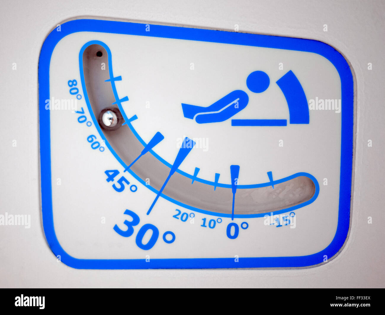 Picture of hospital Head-Of-Bed angle indicator to show degree of incline of the patient and bed - Stock Image