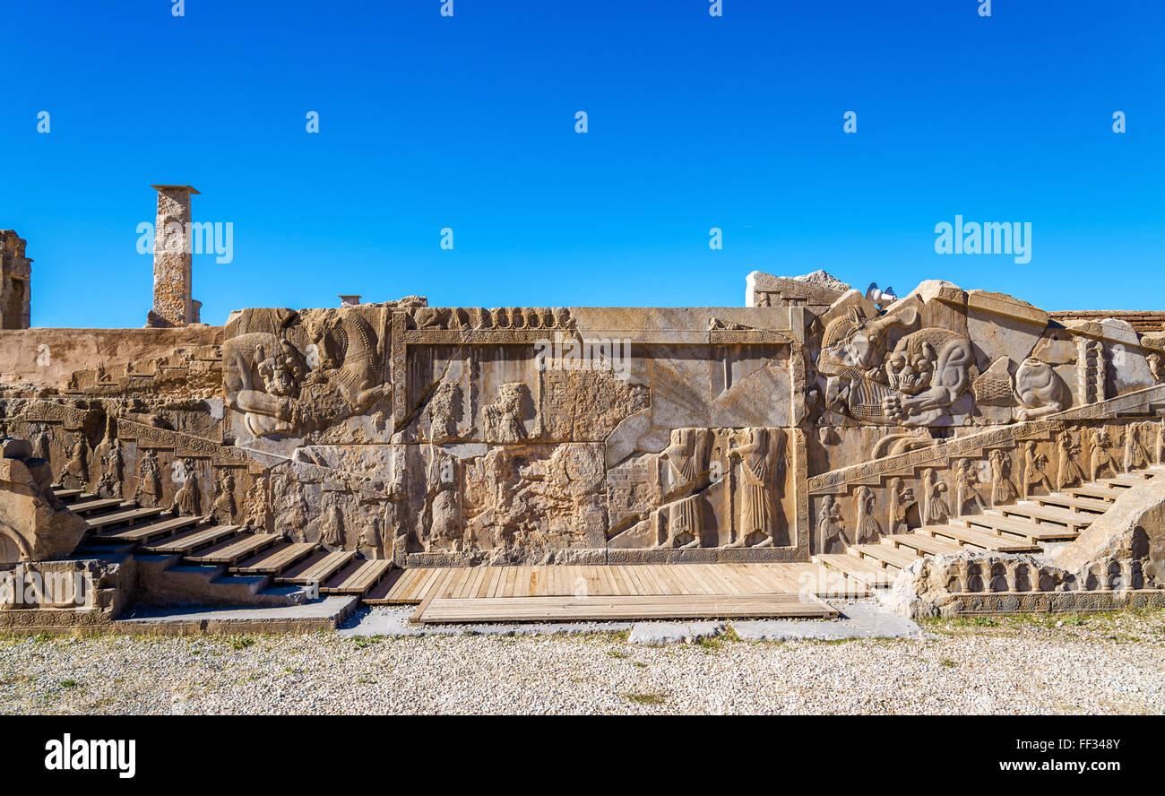 Ancient persian carving in Persepolis - Iran - Stock Image