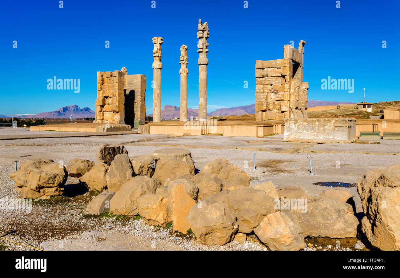 View of the Gate of All Nations in Persepolis - Iran Stock Photo