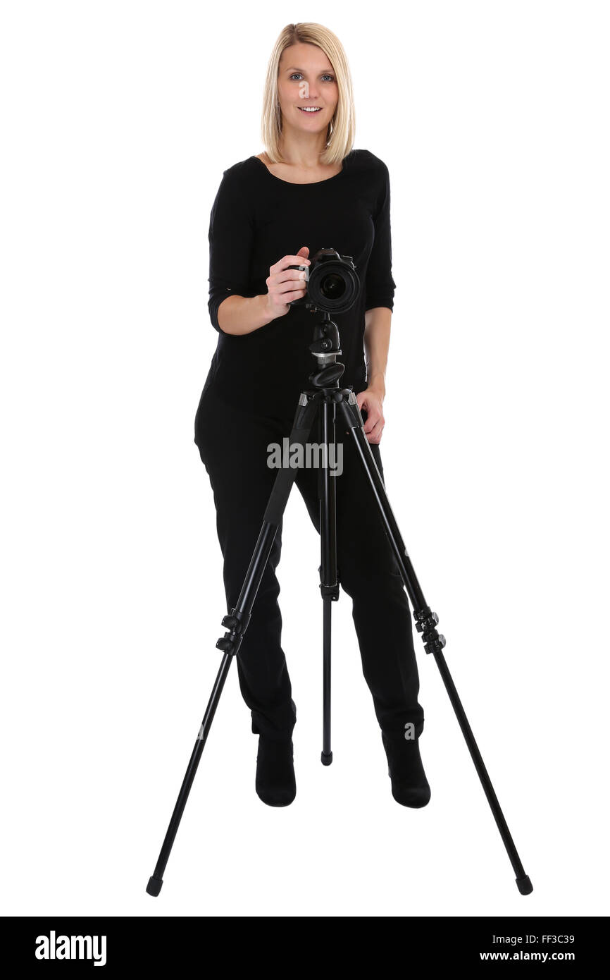 Photographer woman photography photos with camera occupation hobby full body isolated on a white background - Stock Image