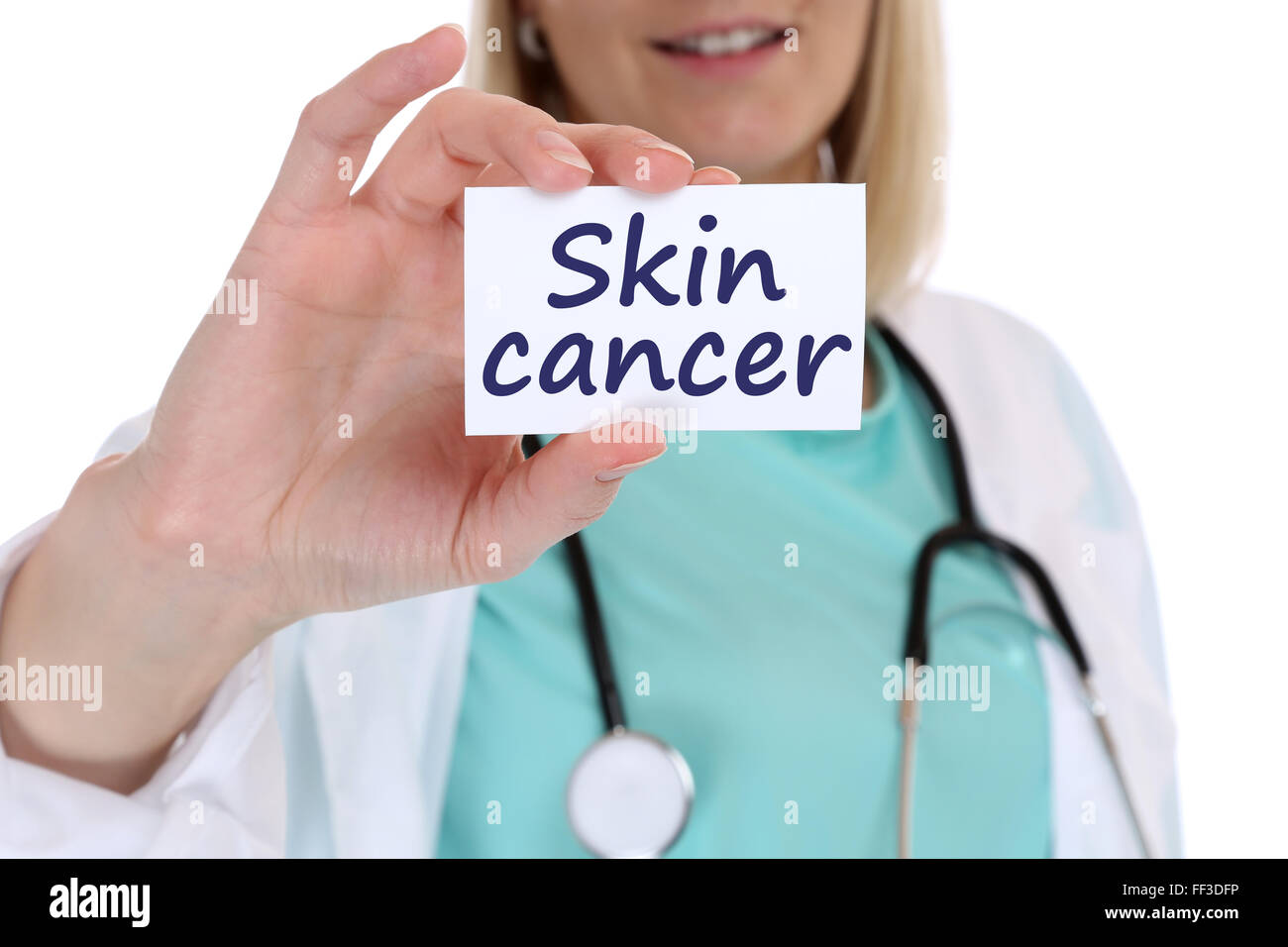 Skin cancer awareness disease ill illness health doctor nurse with sign - Stock Image