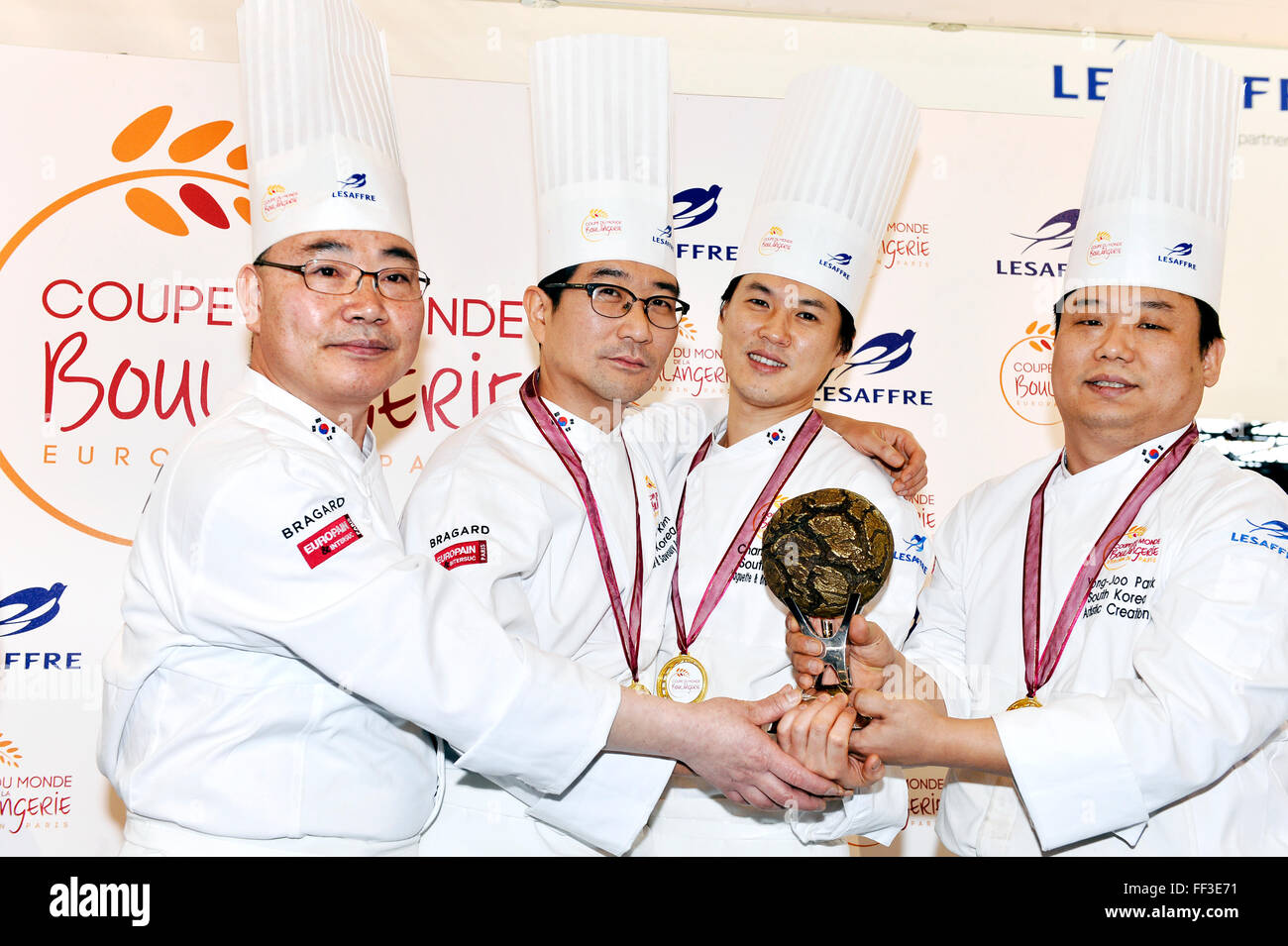 9th of february, Paris, France South Korea team won the Bakery World Cup 2016 in Paris-Nord Exhibition center of Stock Photo