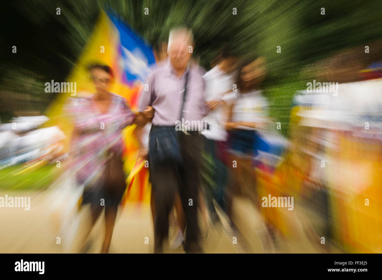 People demonstrating the eleventh of September in Barcelona, ​​Catalonia , Spain - Stock Image