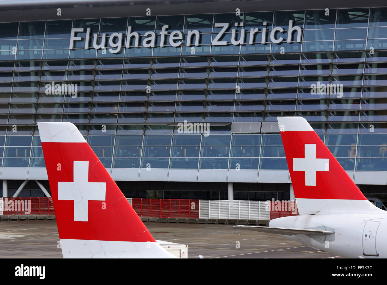 Zurich, Switzerland - January 23, 2016: Swiss International Air Lines airplanes at Zurich Airport (ZRH) in Switzerland. - Stock Image