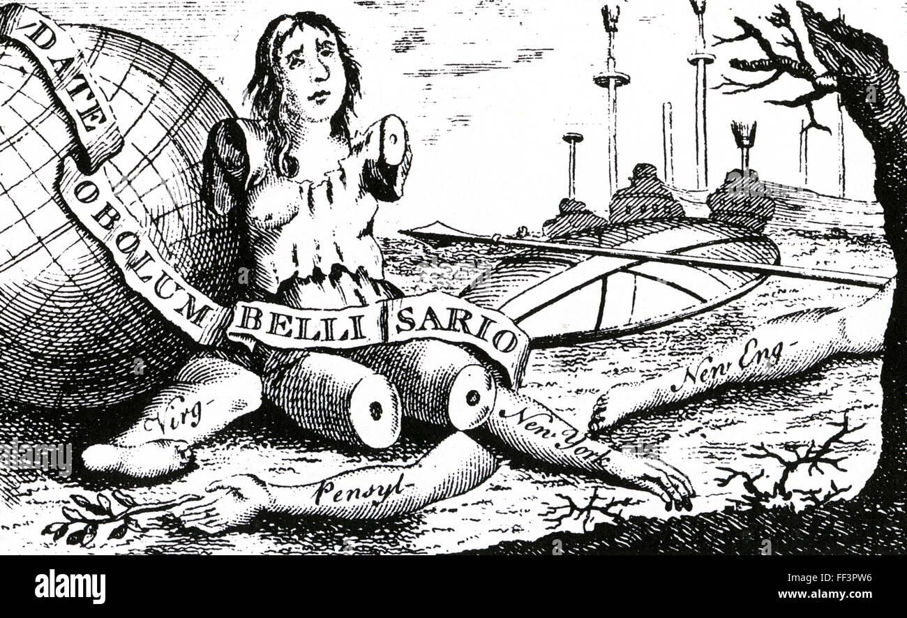 BENJAMIN FRANKLIN (1706-1790) American statesman. His cartoon 'Magna Britannia: her Colonies Reduc'd' - Stock Image