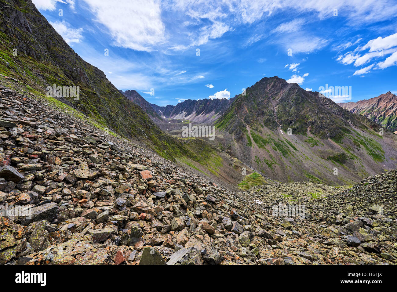 View down to cross the ridge Recessional moraine. Geomorphology . Eastern Siberia - Stock Image