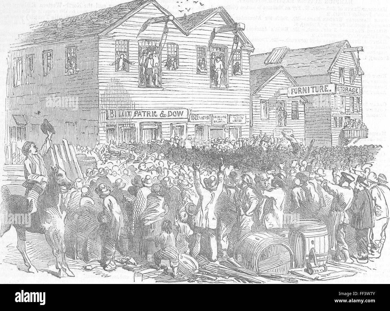 CALIFORNIA San Francisco Vigilantes A lynching 1851. Illustrated London News - Stock Image