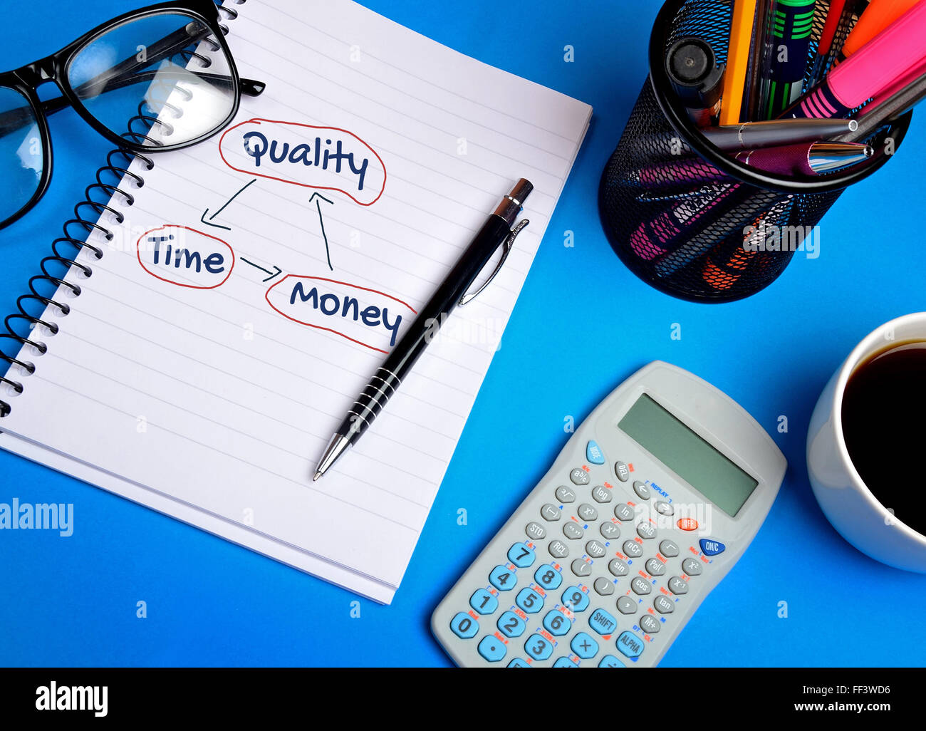 Quality Time Money word on notepad - Stock Image